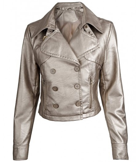 Juniors Short Metallic Faux Leather Motorcycle Jacket