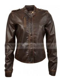 Juniors Vegan Womens Brown Leather Motorcycle Jacket