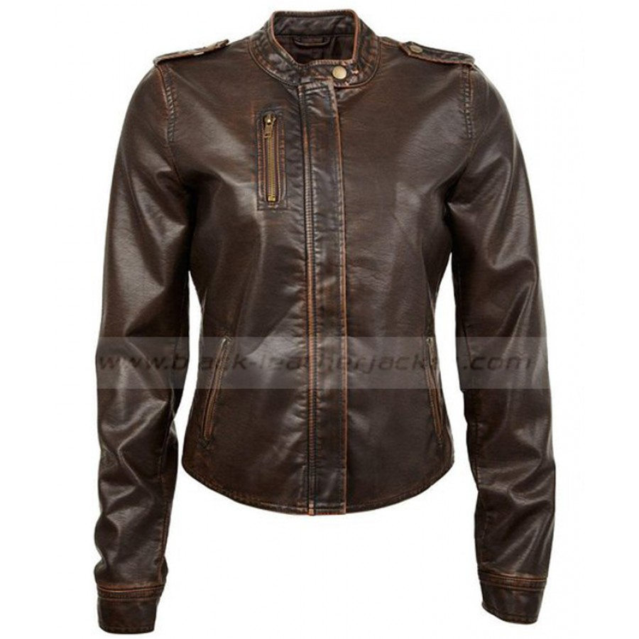 Womens Brown Leather Motorcycle Jacket | Juniors Vegan Moto Jacket