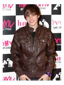 Justin Bieber Brown Leather Jacket