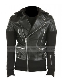 Justin Bieber Black Leather Quilted Jacket with Hoodie