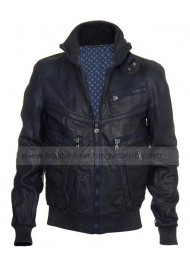 Justin Bieber Multi Zip Navy Blue Bomber Leather Jacket