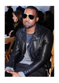 Kanye West Biker Style Black Leather Jacket