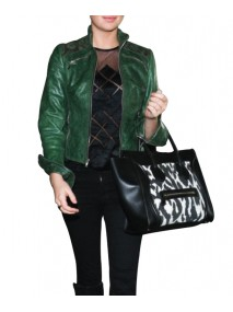 Kate Upton Green Leather Jacket