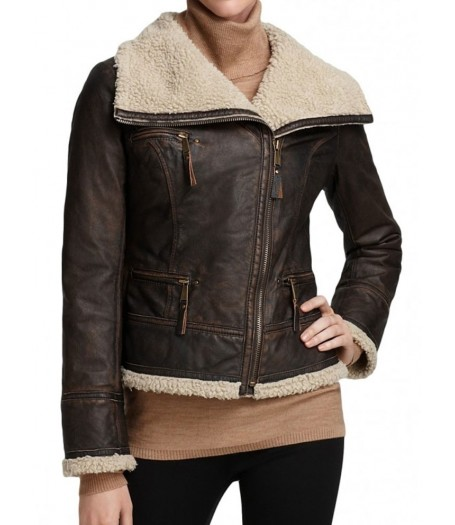 Katharine McPhee Smash Womens Shearling Winter Bomber Jacket