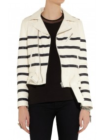 Katie Holmes Striped Leather Jacket