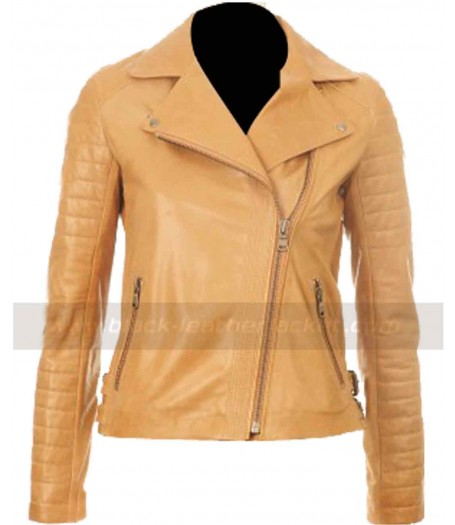 Kelly Brook Women Brown Tan Leather Jacket