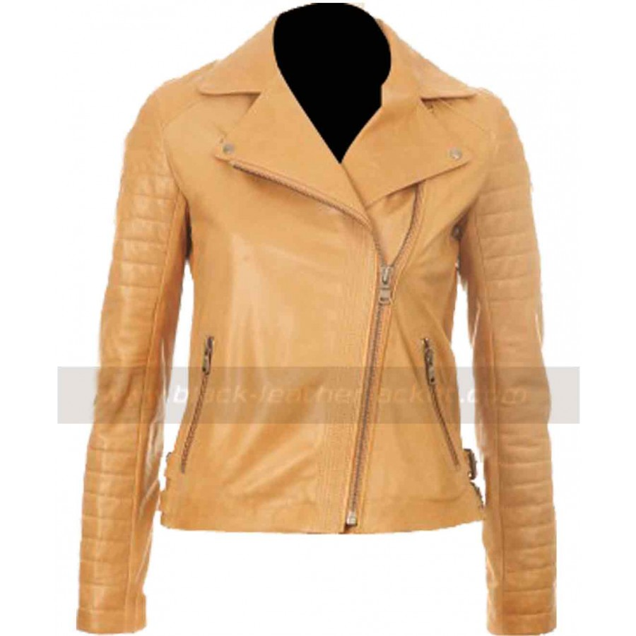 Kelly Brook Leather Jacket | Women Brown Tan Jacket