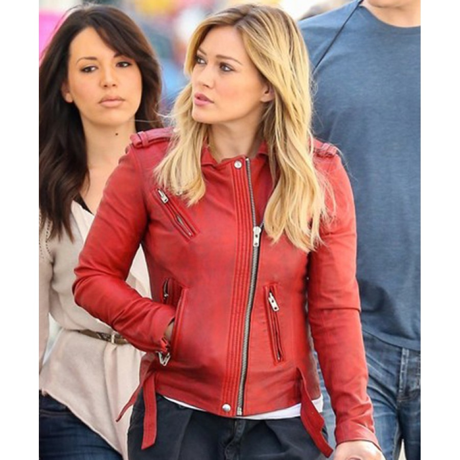 Hilary Duff Leather Jacket | Kelsey Younger Red Biker Jacket