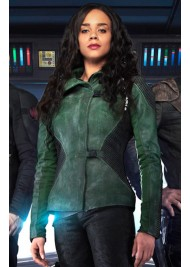 Hannah John Kamen Killjoys Season 2 Dutch Green Leather Jacket