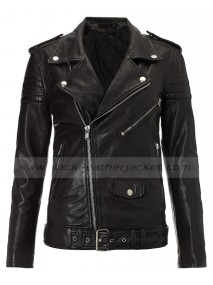 Kim Kardashian Black Leather Biker Jacket