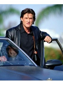 Kurt Russell Dark Blue Leather Jacket Coat