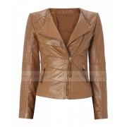 Womens Asymmetrical Brown Leather Moto Jacket