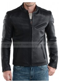 100% Real Lambskin Black Leather Motorcycle Jacket for Men