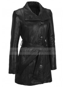 Ladies Hipster Belted Black Lambskin Leather Jacket Coat