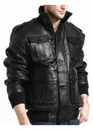 Lambskin Mens Black Leather Bomber Jacket