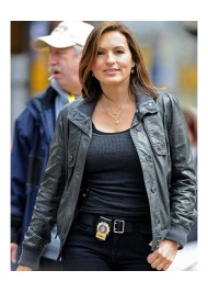 Law & Order Mariska Hargitay Black Leather Bomber Jacket