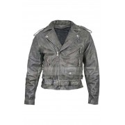 Mens Vulcan Distressed Leather Motorcycle Jacket