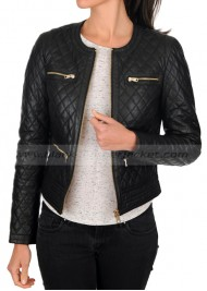 Black Leather Quilted Jacket for Women