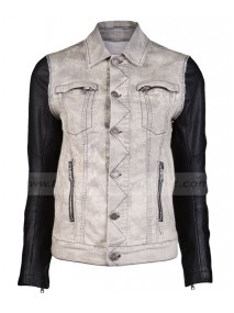 Justin Bieber Denim Jacket with Black Leather Sleeves