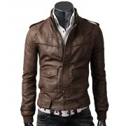 Light Brown Biker Rider Mens Slim Leather Jacket