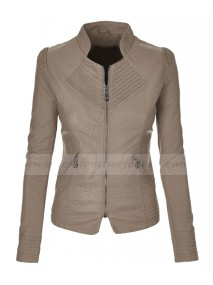 Light Grey Womens Faux Leather Moto Jacket