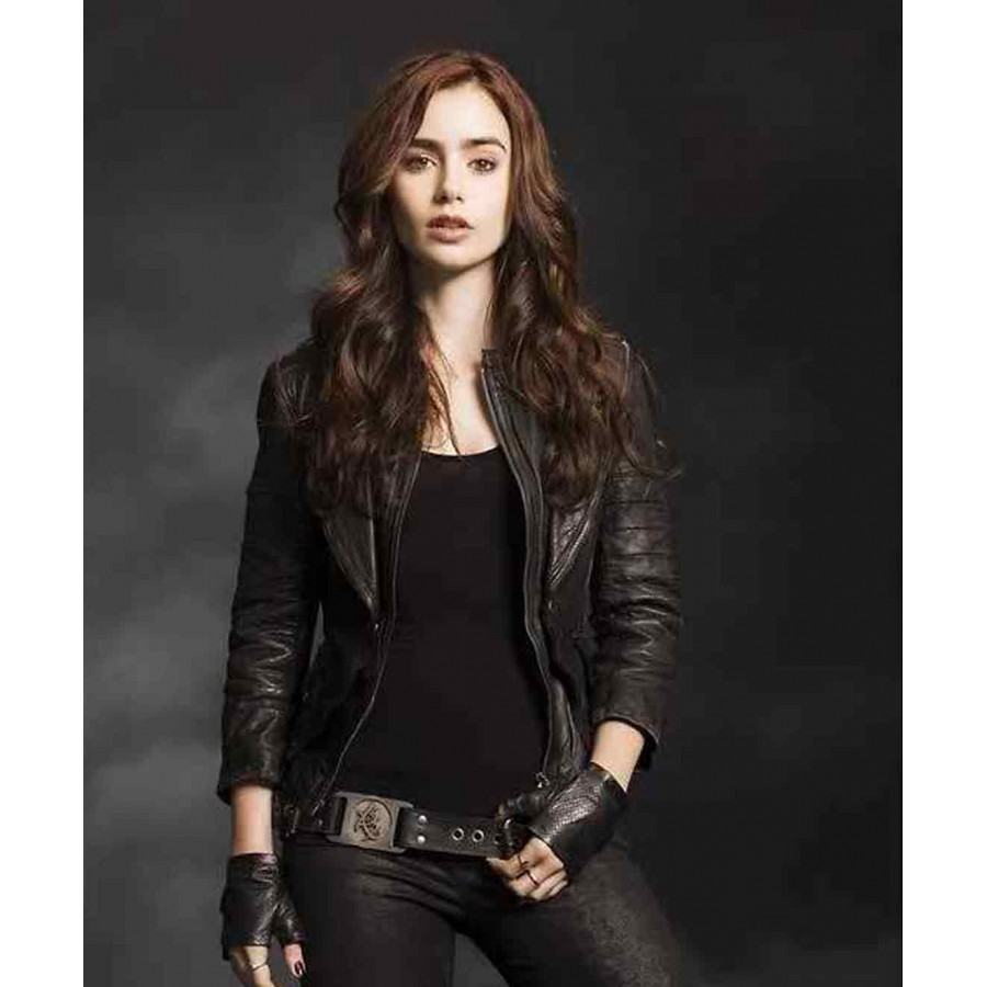 Lily Collins Leather Jacket Mortal Instruments Jacket