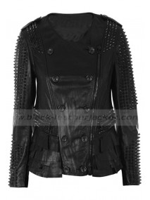 Lindsay Lohan Womens Studded Leather Jacket