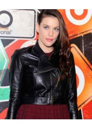 Liv Tyler Womens Black Leather Biker Jacket
