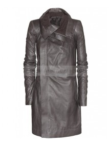 Long Asymmetrical Black Leather Biker Jacket For Womens