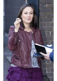 Luisa Bradshaw-White Maroon Leather Jacket