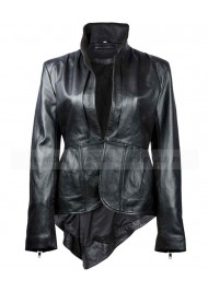 Mandarin Collar Womens Black Leather Jacket Sale
