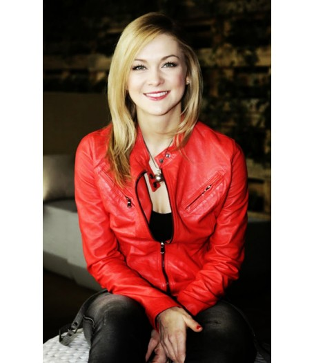 MDR Talk Show Linda Hasse Red Leather Jacket