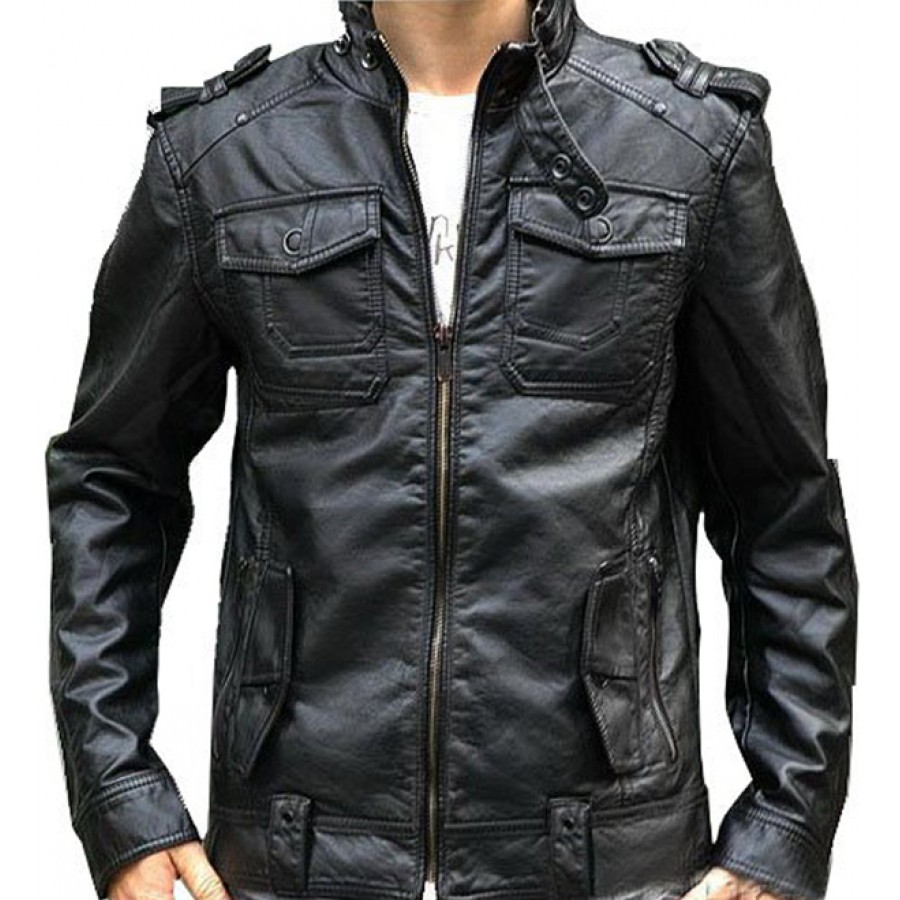 Collar Black Leather Motorcycle Jacket for Men