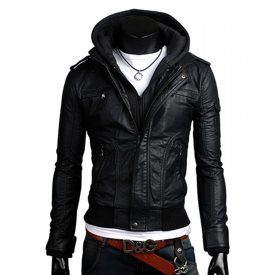 Slim Fit Hoodie | Black Leather Jacket With Hoodie for Men