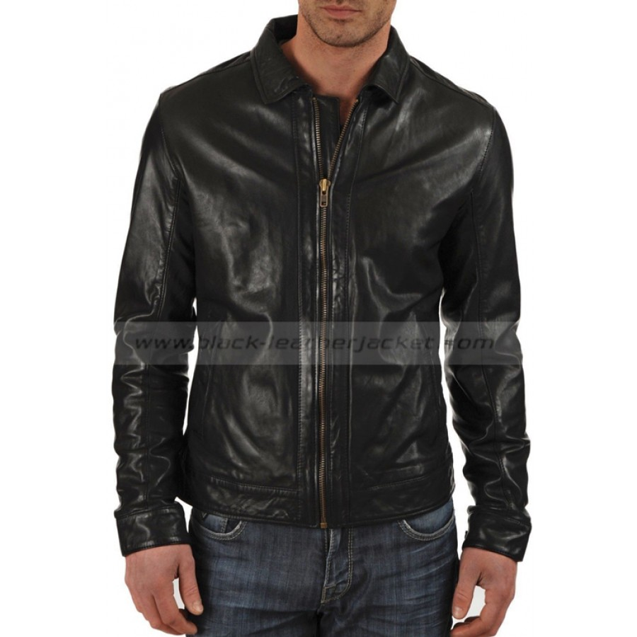Look Men Motorcycle Black Lambskin Leather Jacket