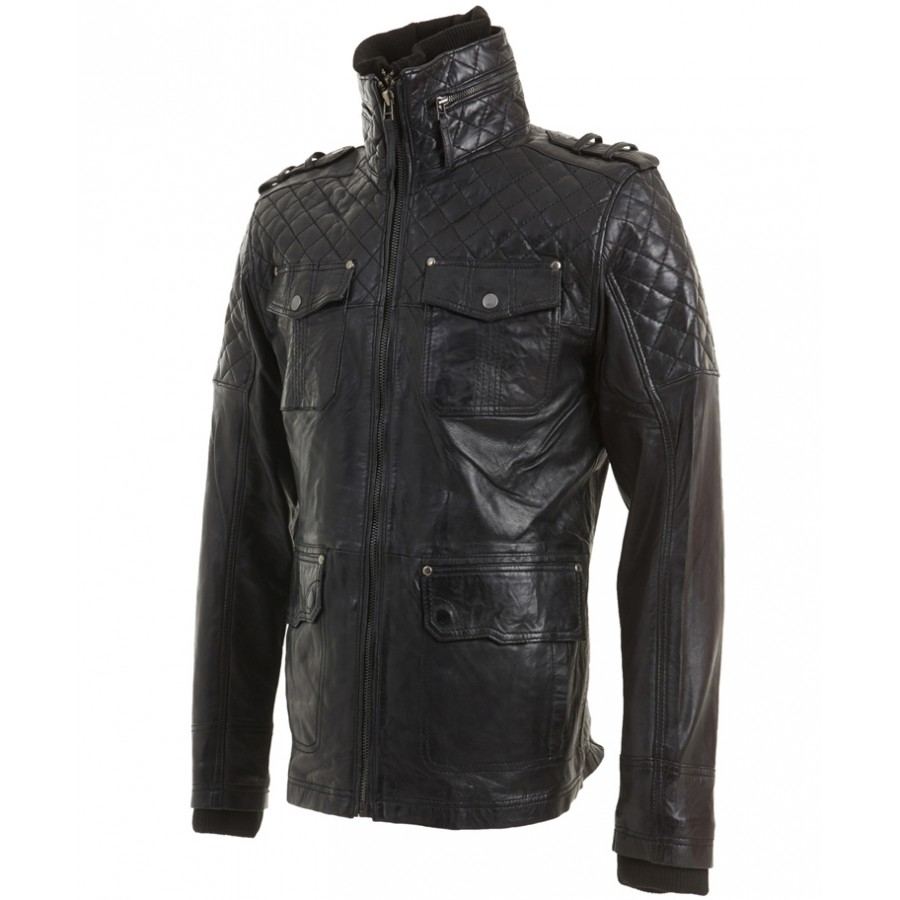 55022d048954 Vintage Leather Biker Jacket | Mens Black Leather Motorcycle Jacket