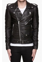 Men's Asymmetrical Biker Black Leather Jacket