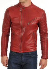 Men's New Asymmetrical Style Slim Fit Red Leather Biker Jacket