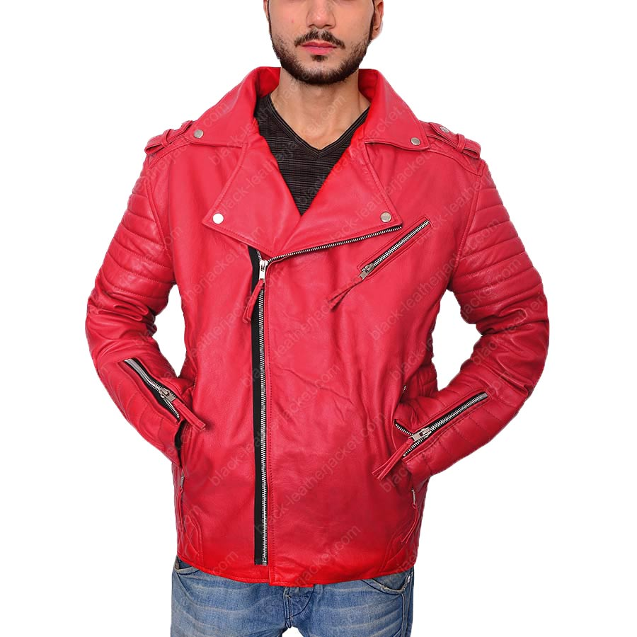 90548202 Men's Asymmetrical Style Padded Red Leather Biker Jacket