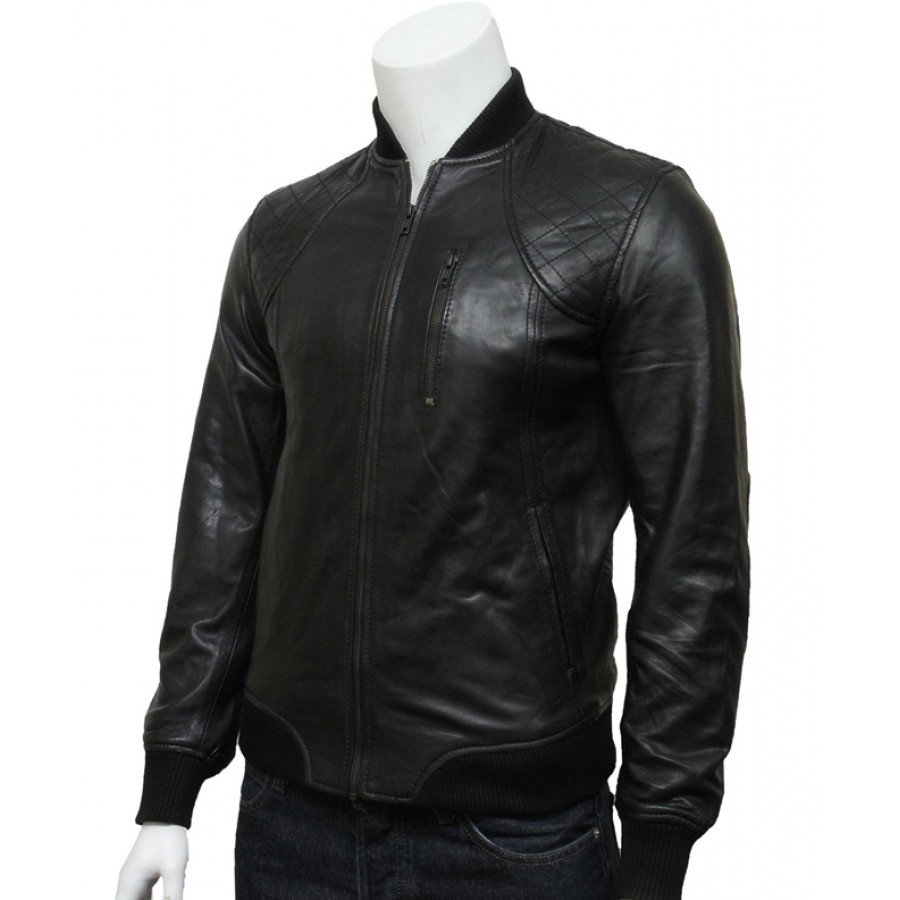 Slim Fit Bomber Jacket | Mens Black Leather Bomber Jacket