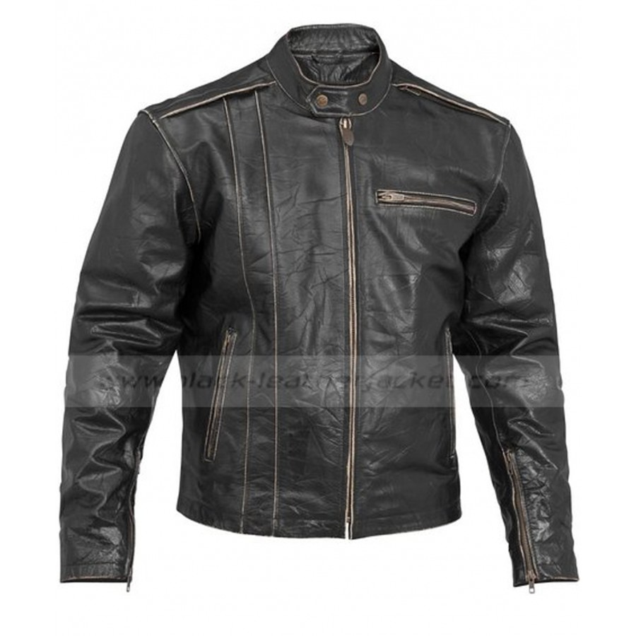 4d68fbffa0e0 Distressed Black Leather Jacket | Mens Vintage Motorcycle Jacket