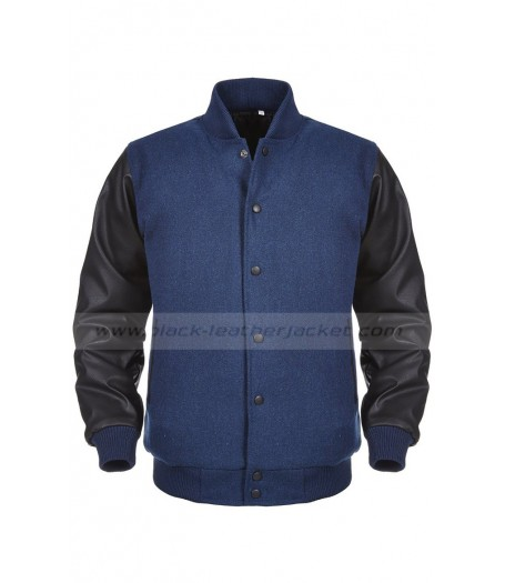 Mens Black and Blue Varsity Jacket