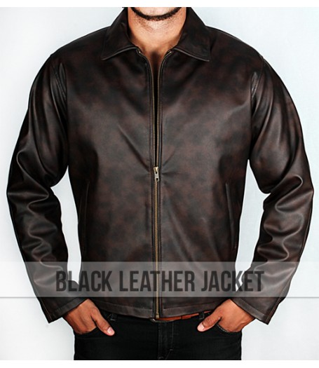 Men's Black And Brown Tone Faux Leather Jacket