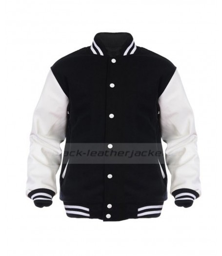 Mens Letterman Wool Black And White Varsity Jacket