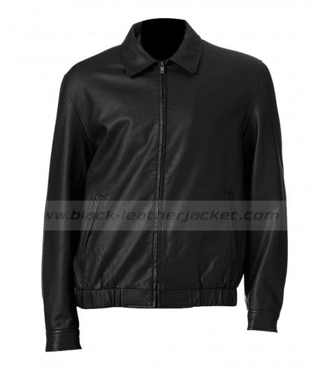 Men's Big and Tall Black Leather Bomber Jacket