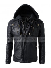 Mens Bike Rider Black Faux Leather Jacket With Hood