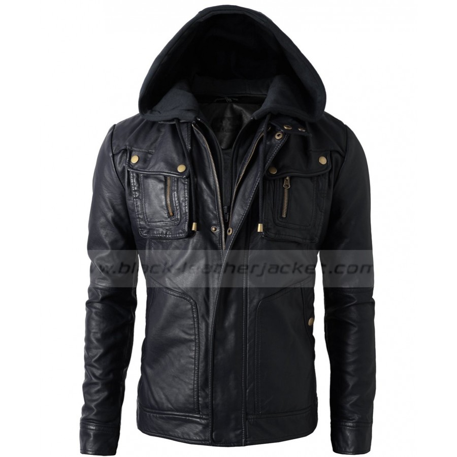 Faux Leather Jacket With Hood | Mens Bike Rider Black Jacket