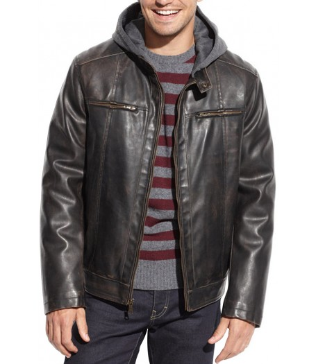 Men's Black Hooded Faux Leather Jacket