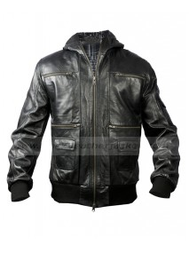 Mens Black Hoodie Leather Bomber Jacket